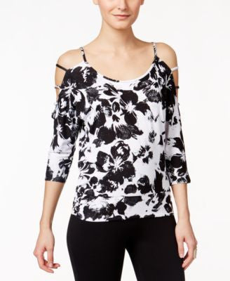 Thalia Sodi Printed Cold-Shoulder Lattice-Detail Blouse, Only at Vogily
