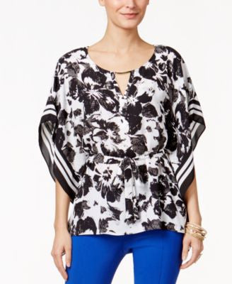 Thalia Sodi Printed Belted Capelet Top, Only at Vogily