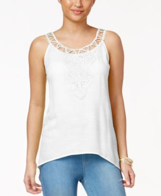 Thalia Sodi Crochet-Applique Handkerchief-Hem Tank Top, Only at Vogily