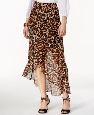 Thalia Sodi Leopard-Print Ruffled High-Low Maxi Skirt, Only at Vogily