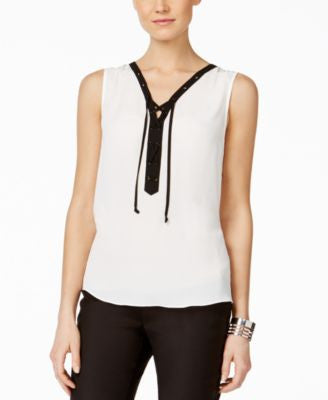 INC International Concepts Sleeveless Contrast Lace-Up Blouse, Only at Vogily