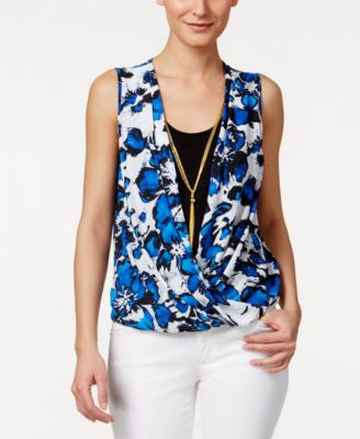 Thalia Sodi Floral-Print Faux-Wrap Top, Only at Vogily