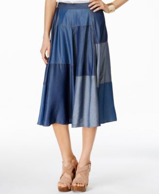 INC International Concepts Denim Patchwork Midi Skirt, Only at Vogily
