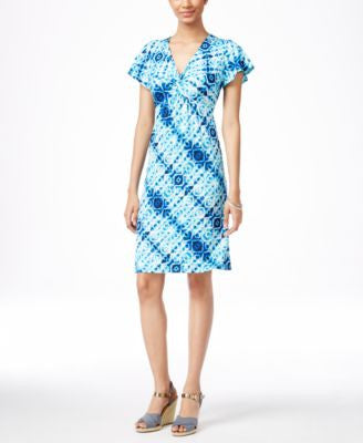 NY Collection Petite Printed Knot-Front Dress