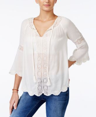 Jessica Simpson Alaya Lace-Trim Peasant Top