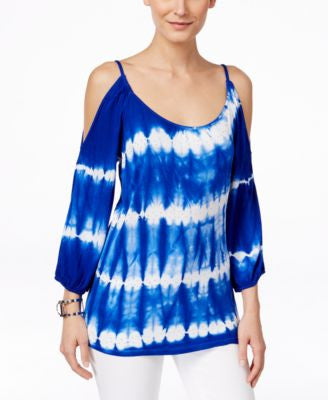 INC International Concepts Cold-Shoulder Tie-Dyed Top, Only at Vogily