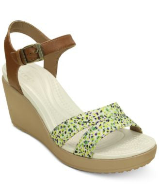Crocs Women's Leigh II Ankle Strap Graphic Wedges
