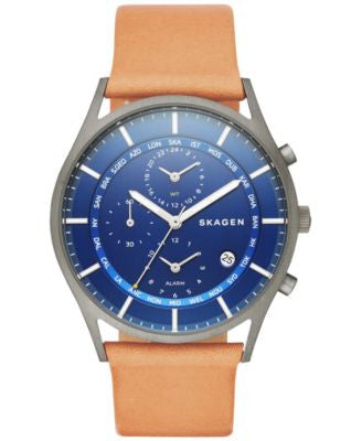 Skagen Men's Chronograph Holst Natural Leather Strap Watch 40mm SKW6285