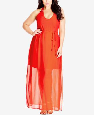 City Chic Plus Size Beaded Racerback Maxi Dress