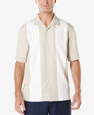 Cubavera Men's Big and Tall Textured Contra Short-Sleeve Shirt