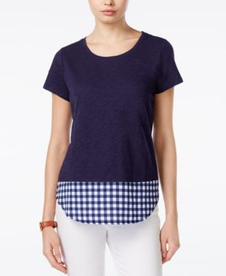 Maison Jules Layered-Look Gingham-Trim Top, Only at Vogily