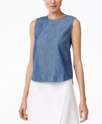 Eileen Fisher High-Low Chambray Shell
