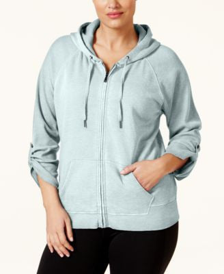 Calvin Klein Performance Plus Size Distressed Fleece Zip Hoodie