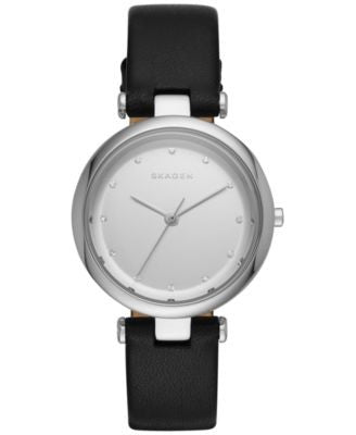 Skagen Women's Tanja Black Leather Strap Watch 30mm SKW2467