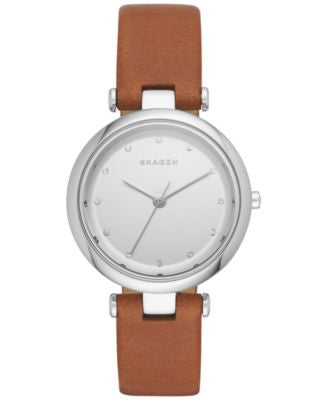 Skagen Women's Tanja Brown Leather Strap Watch 30mm SKW2458