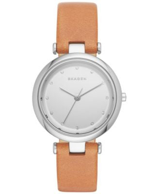 Skagen Women's Tanja Natural Leather Strap Watch 30mm SKW2455