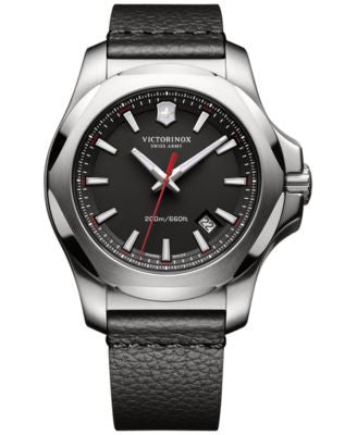 Victorinox Swiss Army Men's Swiss I.N.O.X. Black Leather Strap Watch 43mm 241737.1