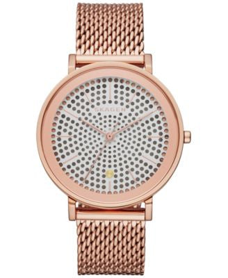 Skagen Women's Solar Hald Rose Gold-Tone Stainless Steel Mesh Bracelet 34mm SKW2447