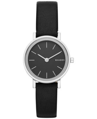 Skagen Women's Hald Black Leather Strap Watch 26mm SKW2442