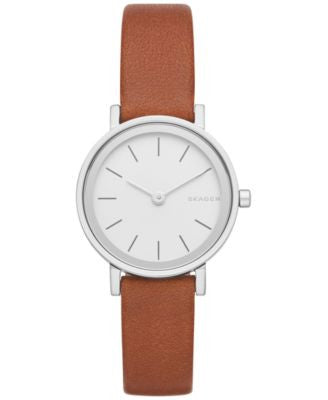 Skagen Women's Hald Brown Leather Strap Watch 26mm SKW2440