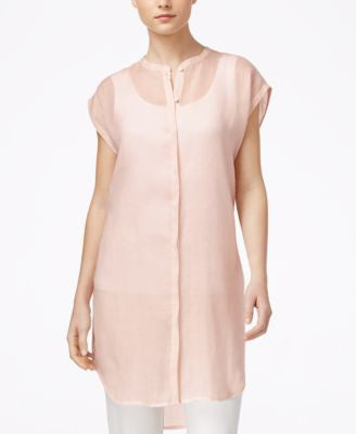 Eileen Fisher Cap-Sleeve Button-Down Tunic