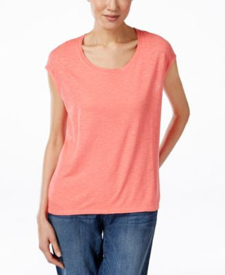 Eileen Fisher Cap-Sleeve Scoop-Neck Top