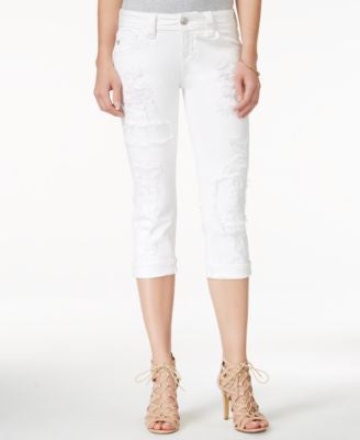 Miss Me Ripped White Wash Capri Jeans