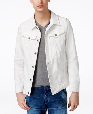 GStar Men's 3301 Slim-Fit White Denim Jacket