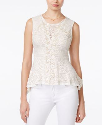 Bar III Crochet Peplum Top, Only at Vogily