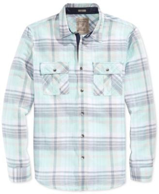 GUESS Men's Long Sleeve Logan Plaid Slim Fit Shirt