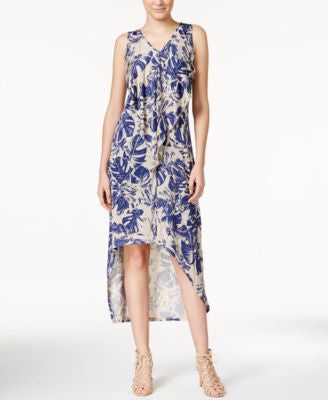 kensie Printed High-Low Maxi Dress