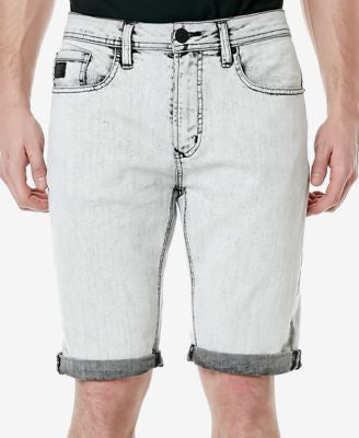 Buffalo David Bitton Men's Dean-X Straight-Fit Bleach Black Denim Shorts