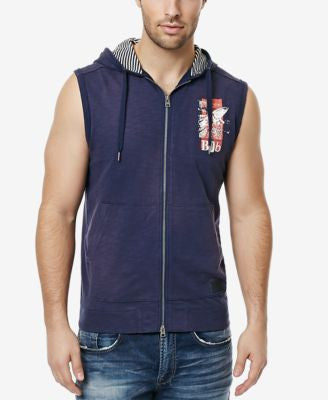Buffalo David Bitton Men's Ficle Graphic-Print Sleeveless Hoodie