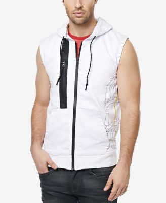 Buffalo David Bitton Men's Finn Graphic-Print Sleeveless Hoodie