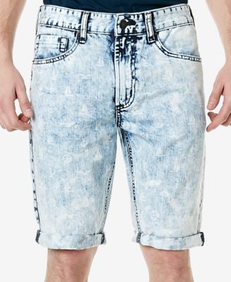 Buffalo David Bitton Men's Parker Straight-Fit Acid-Wash Denim Shorts