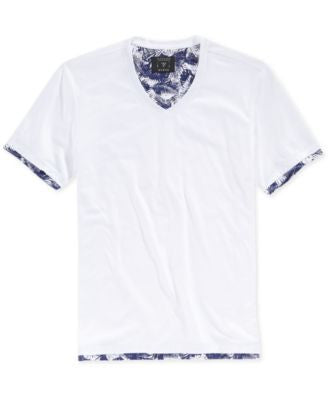 GUESS Men's Mason Shine Botanical-Print 2fer V-Neck T-Shirt