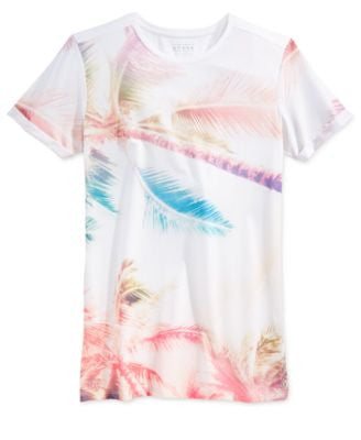 GUESS Men's Longline Palm-Print T-Shirt