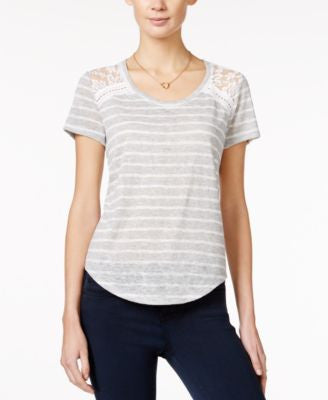 Maison Jules Striped Lace-Inset T-Shirt, Only at Vogily