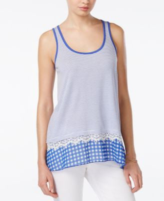 Maison Jules Chiffon-Trim Striped Tank Top, Only at Vogily