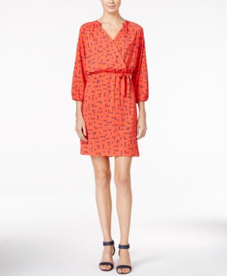 Maison Jules Printed Faux-Wrap Dress, Only at Vogily