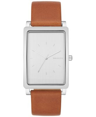 Skagen Men's Hagen Brown Leather Strap Watch 29x49mm SKW6289