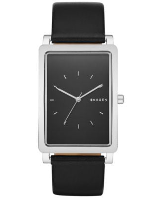 Skagen Men's Hagen Black Leather Strap Watch 30x49mm SKW6287