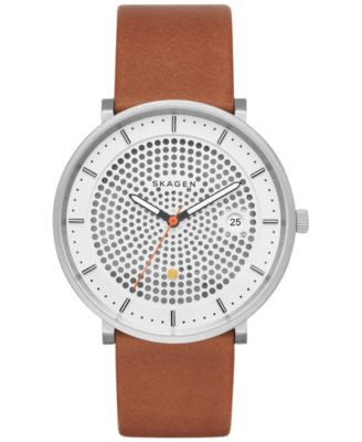 Skagen Men's Solar Hald Brown Leather Strap Watch 40mm SKW6277