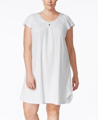 Miss Elaine Plus Size Pleated Keyhole Nightgown