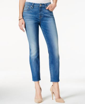 7 For All Mankind Kimmie Supreme Vibrant Blue Wash Cropped Jeans