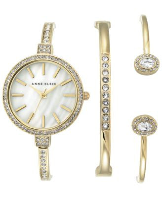Anne Klein Women's Crystal Accent Gold-Tone Bangle Bracelet Watch and Bracelets Set 32mm AK-2516GBST