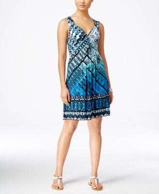 Style & Co. Printed Twist-Front Dress, Only at Vogily