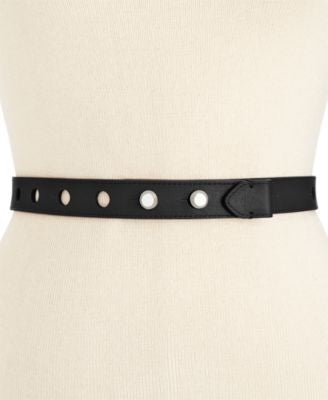 MICHAEL Michael Kors Large Perforated Stud Closure Skinny Belt