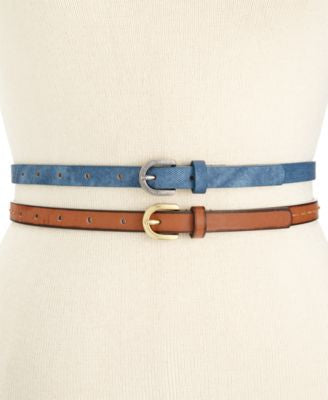 Style & Co. Denim and Stitched 2 for 1 Skinny Belts, Only at Vogily