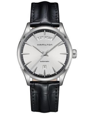 Hamilton Men's Swiss Automatic Jazzmaster Black Leather Strap Watch 42mm H42565751